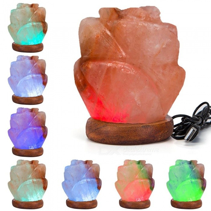 YouOKLight Flower Hand Carved USB Wooden Base Himalayan Crystal Rock Salt Lamp, Air Purifier Night Light