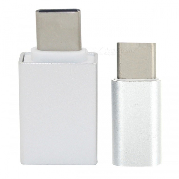 Mini Smile Aluminum Alloy USB 3.1 Type-C To Micro USB + USB 3.0 OTG Adapters - Silver