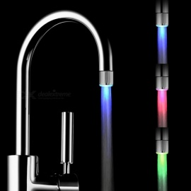 7-Color Changing LED Water Faucet, Light Glowing Shower Head for Kitchen - Silver