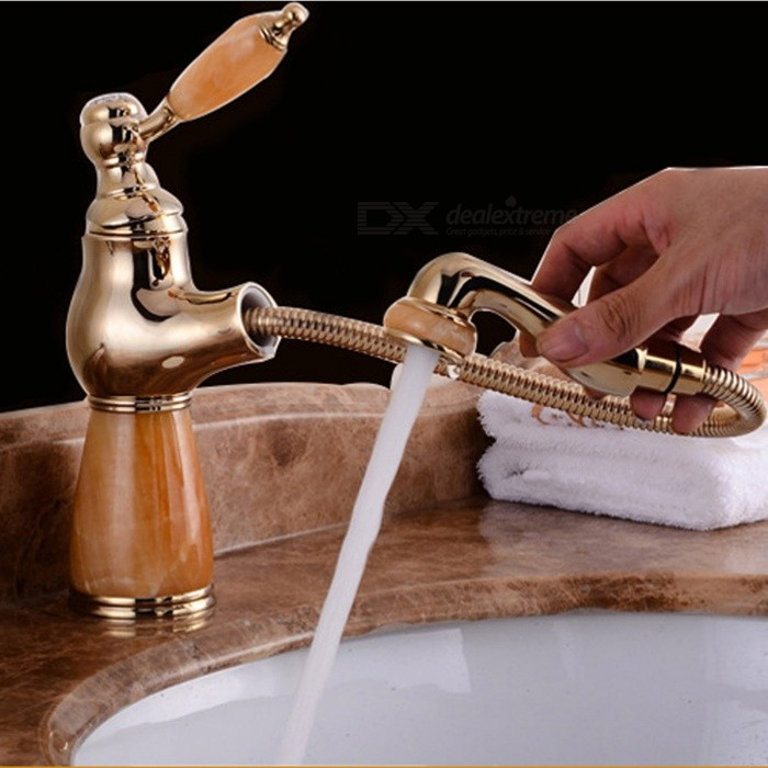 ZHAOYAO European Antique Style Copper Retractable Pull Type Cold and Hot Water Tap Faucet for Bathroom Basin