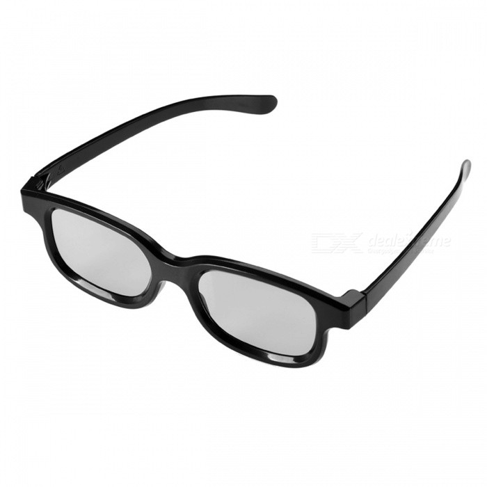 Re-useable Plastic Frame Resin Lens Anaglyphic 3D Glasses - Black (4 PCS)