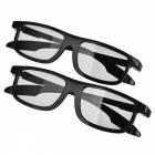Re-useable Plastic Frame Passive Circular Polarized 3D Glasses for Cinema - Black (2 PCS)
