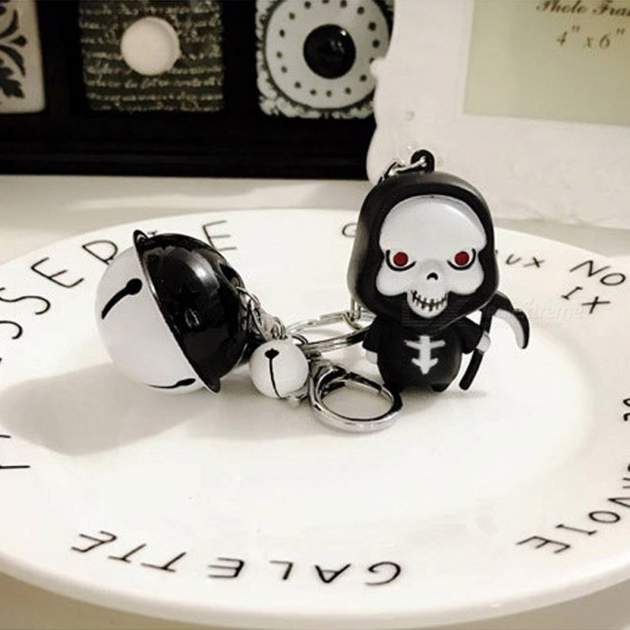 LED Glowing Death Voice Cartoon Halloween Tricky Skull Key Chain with BellKeychains<br>Form  ColorBlack + WhiteMaterialN/AQuantity1 DX.PCM.Model.AttributeModel.UnitPacking List1 x Doll1 x Bell (bell color random)<br>