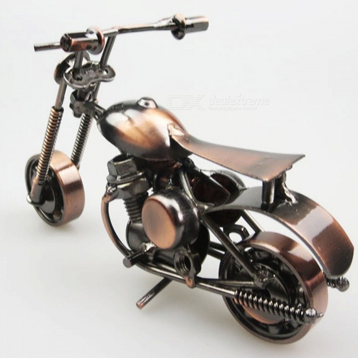 Creative Iron Motorcycle Model Small Gift Crafts for European Style Living Room DecorationOther Gifts<br>Form  ColorBronze + CoffeeMaterialIronQuantity1 setPacking List1 x Motorcycle Model<br>