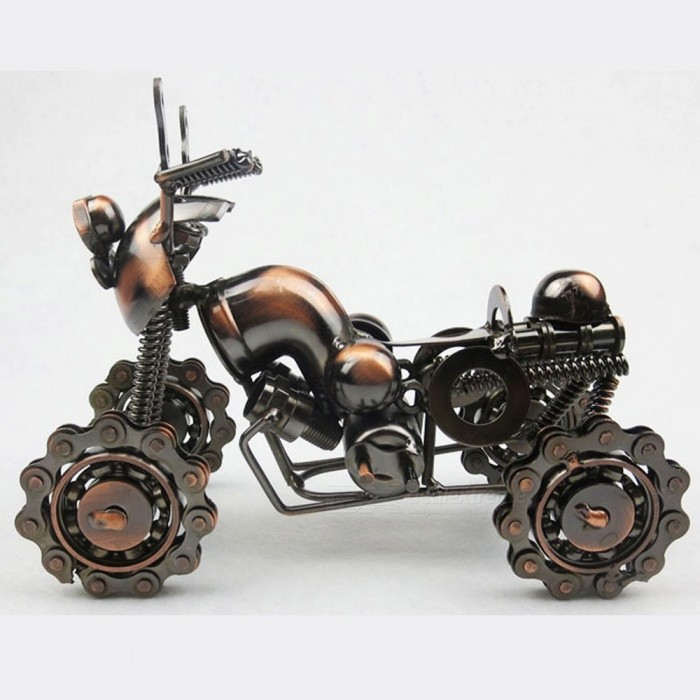Premium Iron Four-Wheel Beach Motorcycle Model Creative Crafts for Home DecorationOther Gifts<br>Form  ColorBronze + CoffeeMaterialIronQuantity1 setPacking List1 x Motorcycle Model<br>