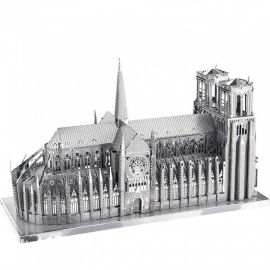 DIY Puzzle 3D Stainless Steel Famous Building Notre Dame Assembly Model Toy - Silver