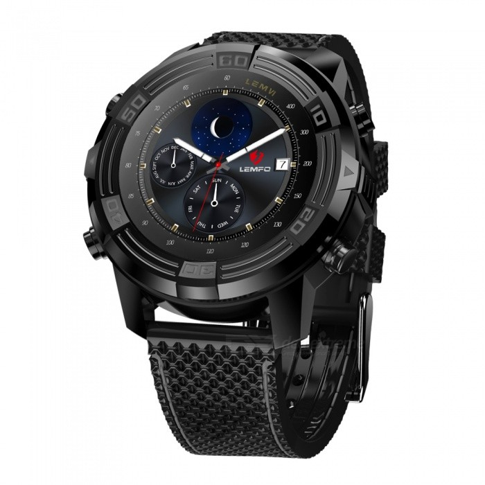 LEMFO LEM6 1.4 AMOLED 3G Smartwatch Phone with 1GB RAM, 16GB ROM - BlackSmart Bracelets<br>Form  ColorBlackModelLEM6Quantity1 setShade Of ColorBlackWater-proofYesBluetooth VersionBluetooth V4.0Touch Screen TypeYesOperating SystemAndroid 4.4Compatible OSIOS 8.0Battery Capacity550 mAhBattery TypeLi-ion batteryStandby Time7 daysCertificationCEOther Features1.4 inch AMOLED(400*400)  IP67, Support Uplink/ downlink Edge Class 12Form  ColorBlackPacking List1 x Smart Watch1 x USB Cable1 x Dock1 x User Manual<br>