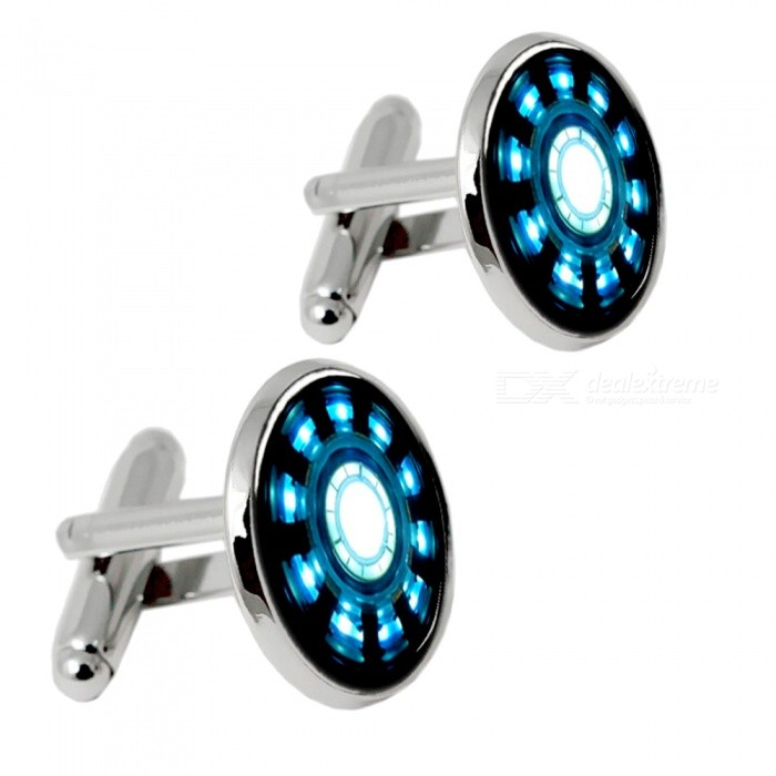 Alloy Ecg Arc Pattern Fashion Cufflinks for Men - Silver + Blue (1 Pair)Cufflinks<br>Form  ColorSilver + BlueQuantity2 DX.PCM.Model.AttributeModel.UnitShade Of ColorSilverMaterialAlloyPacking List2 x Cufflinks<br>