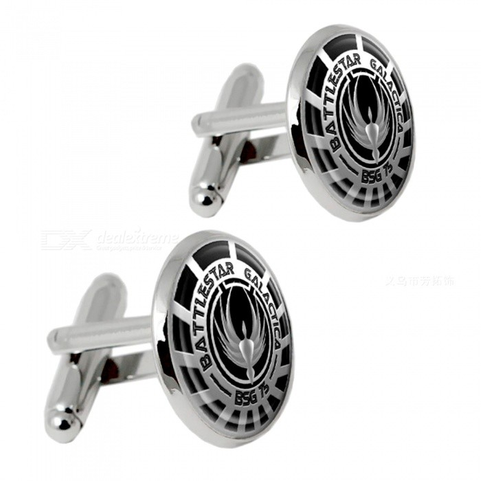 Alloy Men's Fashion Cufflinks - Silver + Black (1 Pair)