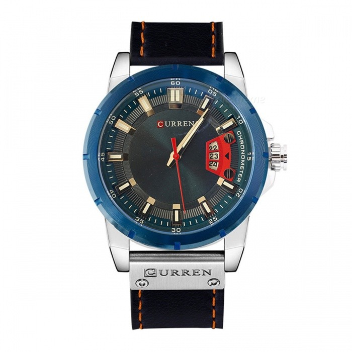 CURREN 8284 Mens Cool PU Leather Quartz Wrist Watch with Date Display - Silver + BlueQuartz Watches<br>Form  ColorSilver + BlueModel8284Quantity1 DX.PCM.Model.AttributeModel.UnitShade Of ColorSilverCasing MaterialAlloyWristband Material-Suitable forAdultsGenderUnisexStyleWrist WatchTypeFashion watchesDisplayAnalogBacklightnoMovementQuartzDisplay Format12 hour formatWater ResistantFor daily wear. Suitable for everyday use. Wearable while water is being splashed but not under any pressure.Dial Diameter5 DX.PCM.Model.AttributeModel.UnitDial Thickness1 DX.PCM.Model.AttributeModel.UnitWristband Length25.2 DX.PCM.Model.AttributeModel.UnitBand Width2 DX.PCM.Model.AttributeModel.UnitBattery626Packing List1 x Watch<br>