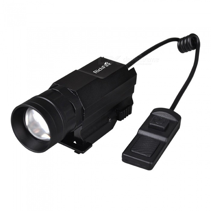 RichFire SF-P41 Outdoor CREE Strong Light 3-Mode Long-Range LED Tactical Gun Flashlight for Hunting CampingCR123A/16340 Flashlights<br>Form  ColorBlackBrandRichFireModelSF-P41Quantity1 DX.PCM.Model.AttributeModel.UnitMaterialAluminum alloyOther FeaturesWaterproof,RechargeableEmitter BrandCreeLED TypeXP-G2Emitter BINothers,S4Color BINCold WhiteNumber of Emitters1Working Voltage   3 DX.PCM.Model.AttributeModel.UnitPower Supply1xCR123A batteryCurrent700 DX.PCM.Model.AttributeModel.UnitOutput(lumens)201-500Theoretical Lumens300 DX.PCM.Model.AttributeModel.UnitActual Lumens300 DX.PCM.Model.AttributeModel.UnitRuntime(hours)2.1-3Runtime3 DX.PCM.Model.AttributeModel.UnitNumber of Modes3Mode ArrangementHi,Mid,Fast StrobeMode MemoryNoSwitch TypeRemote Pressure SwitchSwitch LocationTail TwistyLensGlassReflectorAluminum SmoothBeam Range100 DX.PCM.Model.AttributeModel.UnitStrap/ClipNoCertificationCE, RoHSPacking List1 x Gun flashlight                                      1 x Pistol Flashlight rat tail touch switch1 x CR123A battery1 x English user manual<br>
