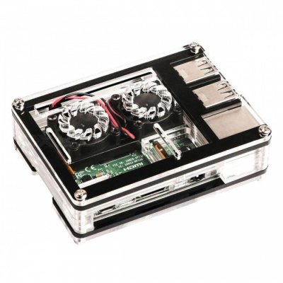 9-Layer Acrylic Case Box with Dual Cooling Fan for Raspberry Pi 3/2/B+
