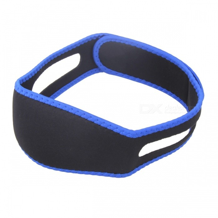 Anti Snore Chin Strap Stop Snoring Snore Belt Sleep Apnea Chin Support Night Sleeping Aid Tool for Women MenEyeshade<br>Form  ColorBlue + BlackMaterialNeoprene + LatexQuantity1 DX.PCM.Model.AttributeModel.UnitShade Of ColorBlueDisplay-Control Mode-Target Position-Physical therapy functionHelps with Snoring, Sleep Apnea, Teeth Grinding etc.Power SupplyOthers,-Packing List1 x Belt<br>