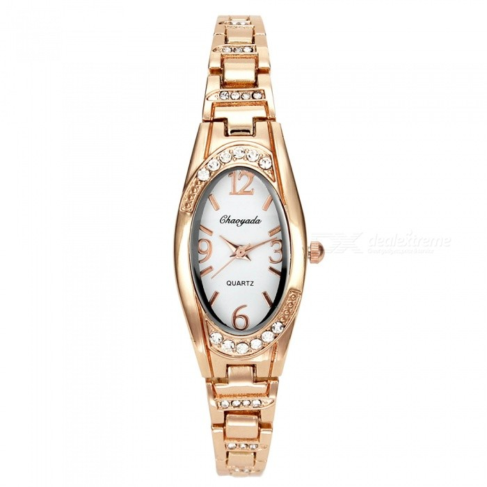 Chaoyada 1142 Rhinestone Bracelet Womens Quartz Watch - Rose Gold + WhiteWomens Bracelet Watches<br>Form  ColorRose Gold + WhiteModel1142Quantity1 DX.PCM.Model.AttributeModel.UnitShade Of ColorGoldCasing MaterialElectroplating steelWristband MaterialElectroplating steelSuitable forAdultsGenderWomenStyleWrist WatchTypeFashion watchesDisplayAnalogDisplay Format12 hour formatMovementQuartzWater ResistantFor daily wear. Suitable for everyday use. Wearable while water is being splashed but not under any pressure.Dial Diameter2.2 DX.PCM.Model.AttributeModel.UnitDial Thickness1 DX.PCM.Model.AttributeModel.UnitBand Width0.8 DX.PCM.Model.AttributeModel.UnitWristband Length20.2 DX.PCM.Model.AttributeModel.UnitBattery1 x LR626 battery (included)Packing List1 x Watch<br>