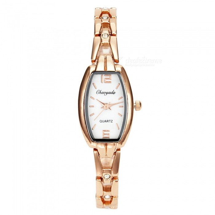 Chaoyada 1142 Rhinestone Bracelet Womens Quartz Watch - Rose Gold + WhiteWomens Bracelet Watches<br>Form  ColorRose Gold + WhiteModel1143Quantity1 setShade Of ColorGoldCasing MaterialElectroplating steelWristband MaterialElectroplating steelSuitable forAdultsGenderWomenStyleWrist WatchTypeFashion watchesDisplayAnalogDisplay Format12 hour formatMovementQuartzWater ResistantFor daily wear. Suitable for everyday use. Wearable while water is being splashed but not under any pressure.Dial Diameter2.1 cmDial Thickness0.9 cmBand Width0.7 cmWristband Length19.8 cmBattery1 x LR626 battery (included)Packing List1 x Watch<br>