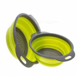 2Pcs/Set Silicone Collapsible Drainer Colander, Fruit Vegetable Washing Basket Strainer with Handle - Green
