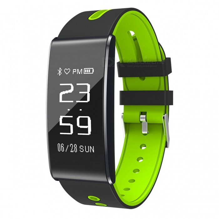 """S13 0.96 """" OLED Sports Smart Bracelet with Blood Pressure Heart Rate Monitoring - Green + Black"""