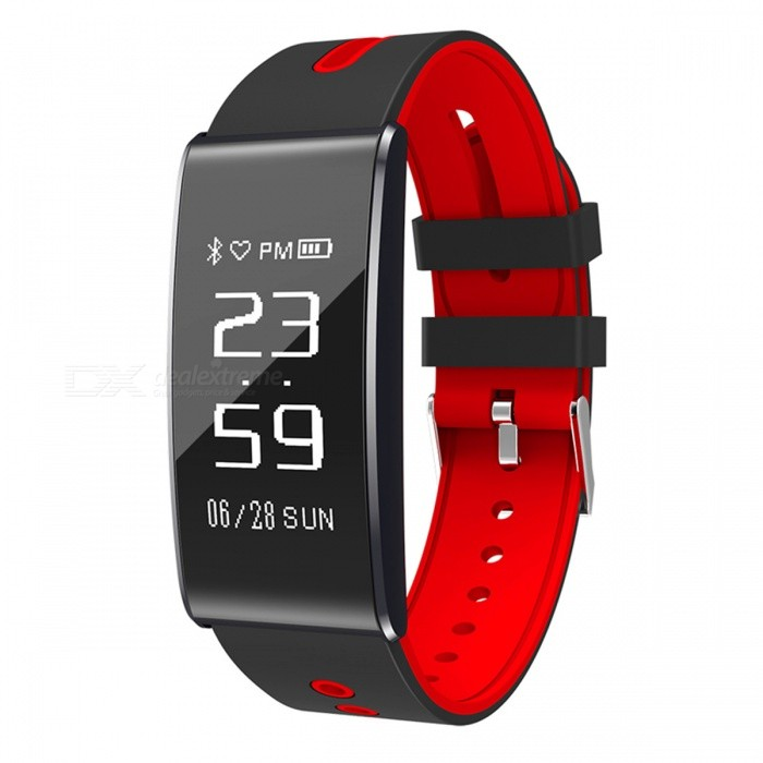 S13 0.96  OLED Sports Smart Bracelet with Blood Pressure Heart Rate Monitoring - Red + BlackSmart Bracelets<br>Form  ColorBlack + RedModelS13Quantity1 setMaterialPlastic + aluminum alloyShade Of ColorBlackWater-proofIP67Bluetooth VersionBluetooth V4.0Touch Screen TypeYesOperating SystemNoCompatible OSiOS / AndroidBattery Capacity70 mAhBattery TypeLi-polymer batteryStandby Time12 daysOther FeaturesHeart Rate Sleep Time Sleep Quality Blood Pressure Pedometer, Distance, Calories.<br>APP Language: Chines Simplify Chinese Traditional English Russian Spanish Ukrainian French Japanese Italian German Korean Thai Danish Polish TurkishPacking List1 x Bracelet1 x Charging Cable1 x Manual<br>