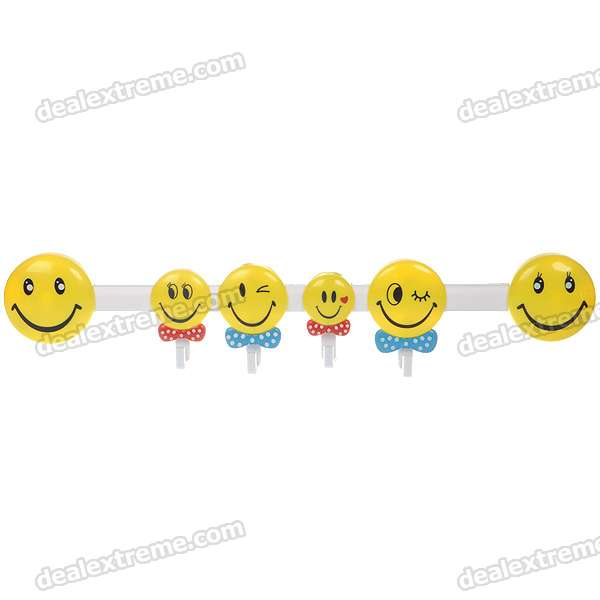 Smile Faces Plastic 4-Hook with Suction Cups (5kg-Max. Load) navy monkey with smile