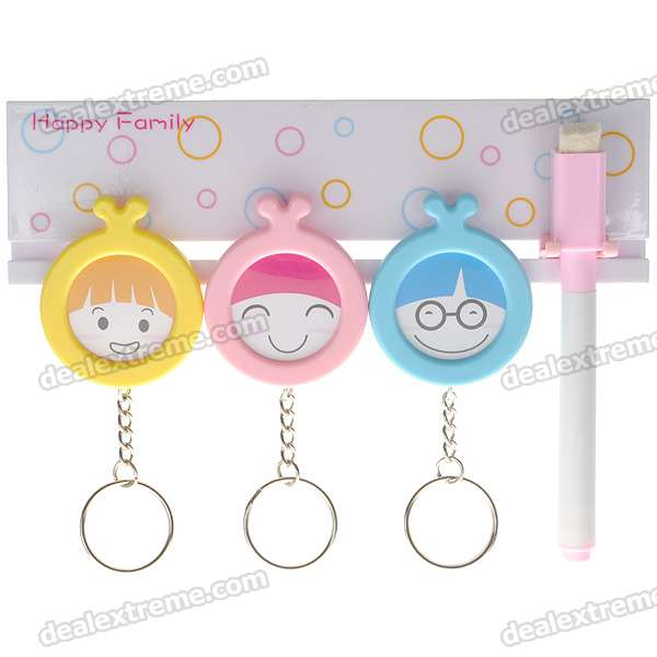 Happy Family Keys Storage Hooks with Memo Pad Set + Suction Cups (1kg-Max. Load)