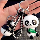Mini Cute Panda Hanging Doll Car Key Chain, Phone Strap with Bell