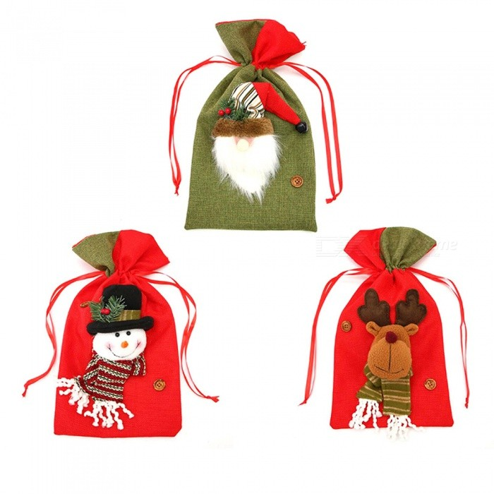 P-TOP 3Pcs Santa Claus Gift Candy Bags Bauble for Kids, Xmas Christmas Tree Ornament - Random Color