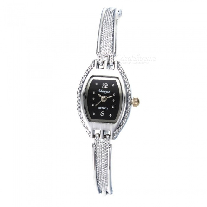 Chaoyada 1144 Rhinestone Bracelet Womens Quartz Watch - Silver + BlackWomens Bracelet Watches<br>Form  ColorSilver White + BlackModel1144Quantity1 DX.PCM.Model.AttributeModel.UnitShade Of ColorSilverCasing MaterialElectroplating steelWristband MaterialElectroplating steelSuitable forAdultsGenderWomenStyleWrist WatchTypeFashion watchesDisplayAnalogDisplay Format12 hour formatMovementQuartzWater ResistantFor daily wear. Suitable for everyday use. Wearable while water is being splashed but not under any pressure.Dial Diameter2 DX.PCM.Model.AttributeModel.UnitDial Thickness0.8 DX.PCM.Model.AttributeModel.UnitBand Width0.5 DX.PCM.Model.AttributeModel.UnitWristband Length19.2 DX.PCM.Model.AttributeModel.UnitBattery1 x LR626 battery (included)Packing List1 x Watch<br>