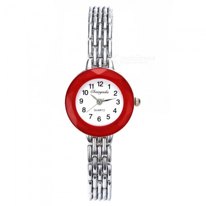 Chaoyada 1146 Rhinestone Bracelet Womens Quartz Watch - Silver + RedWomens Bracelet Watches<br>Form  ColorSilver + RedModel1145Quantity1 setShade Of ColorSilverCasing MaterialElectroplating steelWristband MaterialElectroplating steelSuitable forAdultsGenderWomenStyleWrist WatchTypeFashion watchesDisplayAnalogDisplay Format12 hour formatMovementQuartzWater ResistantFor daily wear. Suitable for everyday use. Wearable while water is being splashed but not under any pressure.Dial Diameter2.7 cmDial Thickness0.9 cmBand Width0.9 cmWristband Length19.7 cmBattery1 x LR626 battery (included)Packing List1 x Watch<br>