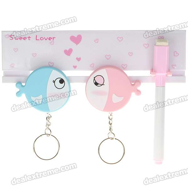 Sweet Lovers Keys Storage Hooks with Memo Pad Set + Suction Cups (1kg-Max. Load) щипцы для наращивания волос php