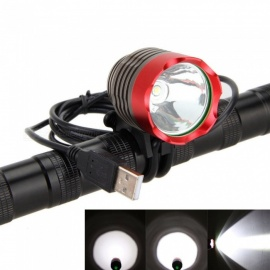 ZHAOYAO Bicycle T6 LED Flashlight Headlight Headlamp USB Rechargeable Mountain Bike Light - Red