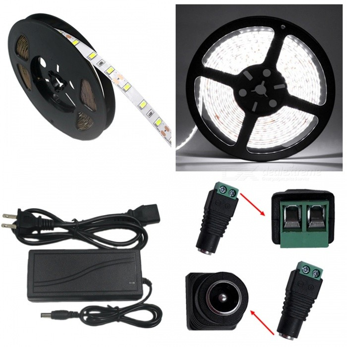 ZHAOYAO Non-Waterproof 5m 72W DC 12V 5630-300LEDs Cold White LED Strip Light with 5A US Plug Charger + DC Female Connector5630 SMD Strips<br>Color BINCold WhiteModel5630SMD-300L-US-WMaterialCircuit boardForm  ColorWhite + BlackQuantity1 DX.PCM.Model.AttributeModel.UnitPower72WRated VoltageDC 12 DX.PCM.Model.AttributeModel.UnitEmitter Type5630 SMD LEDTotal Emitters300Color Temperature5500-7000KWavelength0Actual Lumens25-7000 DX.PCM.Model.AttributeModel.UnitPower AdapterUS PlugPacking List1 x LED Strip Light1 x 5A US Plug Power supply1 x DC Connector<br>