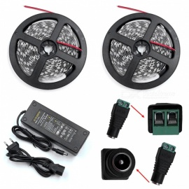 ZHAOYAO Non-Waterproof 144W DC 12V 10m 5630SMD-600LEDs Cold White LED Strip Light with 10A EU Plug Charger + DC Connector