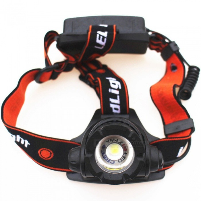 ZHAOYAO Bicycle Bike T6 LED Headlight Headlamp for Outdoor Riding - Black + RedHeadlamps<br>Form  ColorBlack + Red + Multi-ColoredQuantity1 piecesMaterialAluminium alloyEmitter BrandCreeLED TypeXM-L2Emitter BINT6Color BINWhiteNumber of Emitters1Working Voltage   3.7 VPower Supply2*18650Current4.2 ATheoretical Lumens800-1200 lumensActual Lumens800-1200 lumensRuntime2-4 hourNumber of Modes3Mode ArrangementOthers,Bright Light/Dim Light/Flashing ModeMode MemoryNoSwitch TypeForward clickySwitch LocationTailcapLensGlassReflectorAluminum SmoothBand Length50 cmCompatible CircumferencecurrencyBeam Range100-300 cmPacking List1 x Bicycle light1 x Charging cable<br>