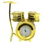Golden Drum Set Decorative Clock