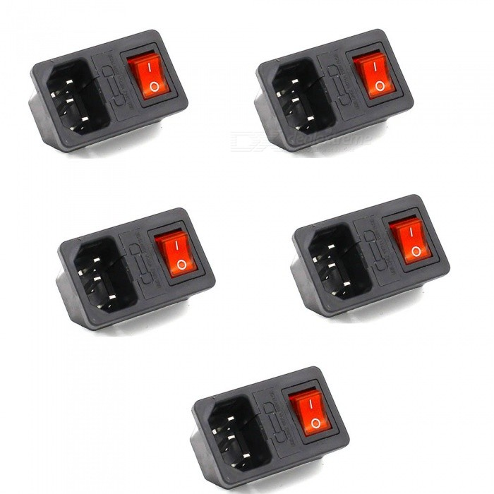 ZHAOYAO 5Pcs Male Power Sockets with 3 Pin IEC320 C14 PlugSwitches &amp; Adapters<br>Form  ColorBlackQuantity1 setMaterialPlastic,copperPower Range-Max. Current-Working Temperature- ?Packing List5 x Switches<br>