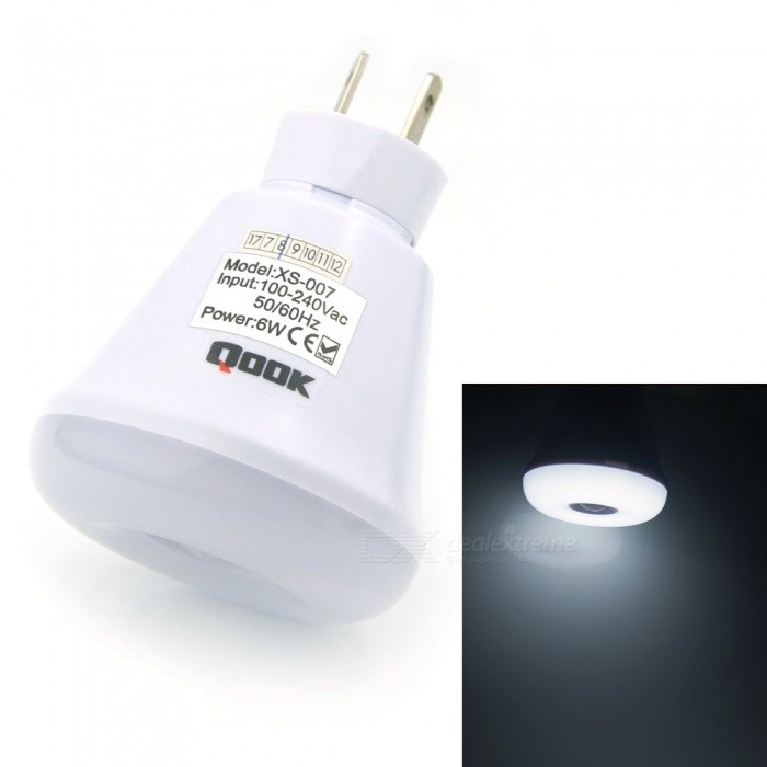 Qook Portable US AU Plug 6W LED Pir Infrared Motion Sensor Cold White Light BulbE27<br>Color BINUS AU Plug, Cold White LightModelXS007C-CWMaterialLEDForm  ColorWhiteQuantity1 piecePower6WRated VoltageAC 85-265 VConnector TypeE27Chip Type2835SMDEmitter TypeOthers,2835SMDTotal Emitters12Theoretical Lumens600 lumensActual Lumens500 lumensColor Temperature6000KDimmableYesPacking List1 x LED bulb<br>
