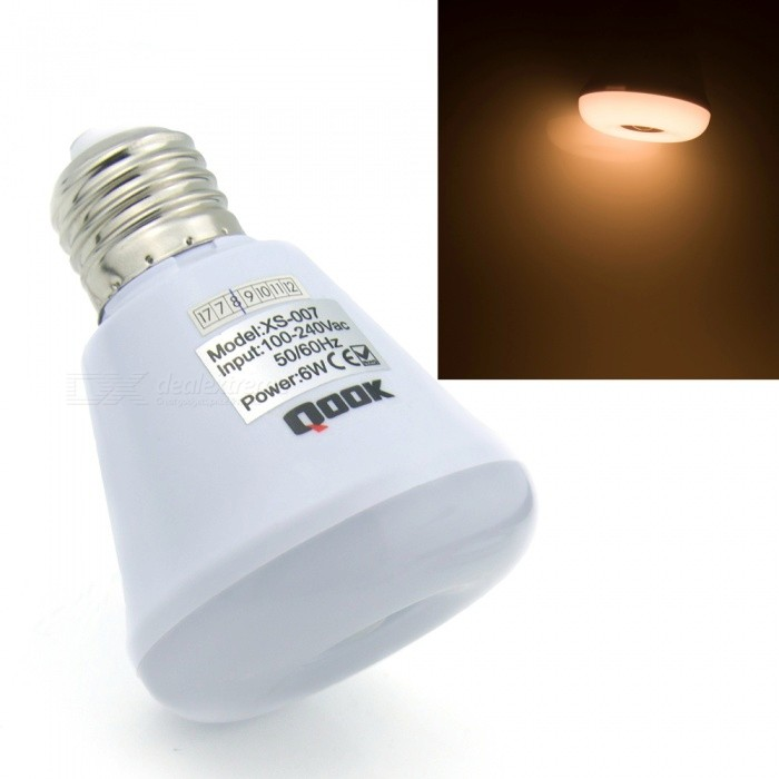 Qook Portable E27 6W LED Pir Infrared Motion Sensor Warm White Night Light Bulb LampE27<br>Color BINE27 Warm White ModelXS007MaterialLEDForm  ColorWhiteQuantity1 DX.PCM.Model.AttributeModel.UnitPower6WRated VoltageAC 85-265 DX.PCM.Model.AttributeModel.UnitConnector TypeE27Chip Type2835SMDEmitter TypeOthers,2835SMDTotal Emitters12Theoretical Lumens600 DX.PCM.Model.AttributeModel.UnitActual Lumens500 DX.PCM.Model.AttributeModel.UnitColor Temperature3000KDimmableNoBeam Angle180 DX.PCM.Model.AttributeModel.UnitColor BINE27 Warm White Packing List1 x LED bulb<br>
