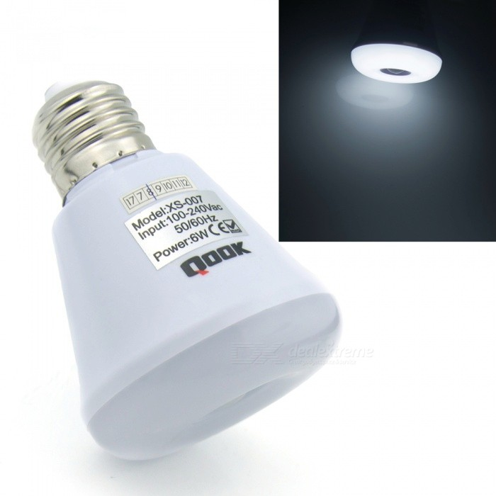 Qook Portable E27 6W LED Pir Infrared Motion Sensor Cold White Night Light Bulb LampE27<br>Color BINCold White,E27 Cold White ModelXS007MaterialLEDForm  ColorWhiteQuantity1 piecePower6WConnector TypeE27Chip Type2835SMDEmitter TypeOthers,2835SMDTotal Emitters12Theoretical Lumens600 lumensActual Lumens500 lumensColor Temperature6000KDimmableNoBeam Angle180 °Color BINE27 Cold White Power SupplyOthers,100-240 VPacking List1 x LED bulb<br>