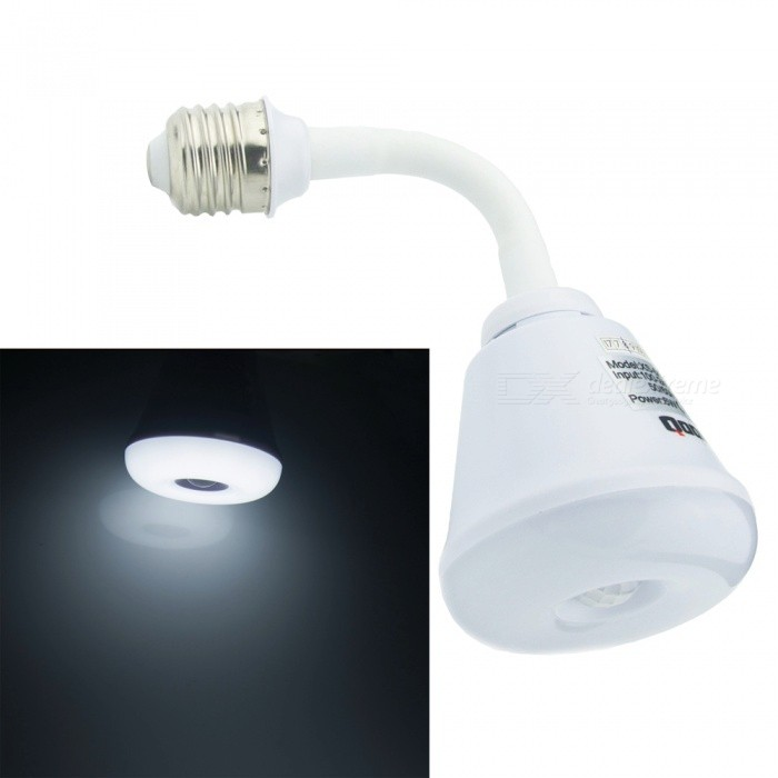 Qook Portable Energy-Saving E27 6W LED Pir Infrared Motion Sensor 360 Degree Flexible Lamp - Cold White