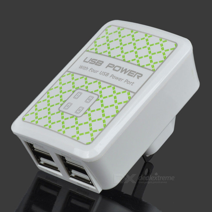 4-Port 500mA USB Power Adapter/Charger (100~240V/US Plug)