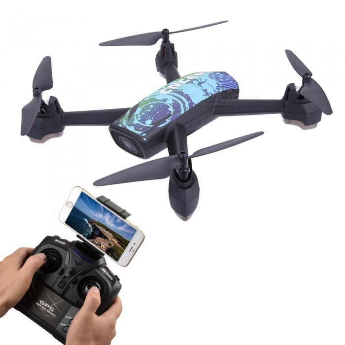 JXD 518 RC Helicopter 2.4GHz 6 Axis Gyro Wi-Fi FPV Quadcopter Drone with 2.0MP HD Camera / GPS - BlueR/C Airplanes&amp;Quadcopters<br>Form  ColorBlueModel518MaterialABSQuantity1 pieceShade Of ColorBlueGyroscopeYesChannels Quanlity4 channelFunctionUp,Down,Left,Right,Forward,Backward,Stop,Hovering,Sideward flightRemote control frequency2.4GHzRemote TypeRadio ControlRemote Control Range150 mIndoor/OutdoorOutdoorSuitable Age 12-15 years,Grown upsCameraYesCamera PixelOthers,2.0MPLamp YesBattery Capacity610 mAhBattery TypeLi-polymer batteryCharging Time120 minutesWorking Time9 minutesModelMode 2 (Left Throttle Hand)Remote Control TypeWirelessRemote Controller Battery TypeAARemote Controller Battery Number4 (not included)Packing List1 x JXD 518 RC Quadcopter1 x Remote controller1 x Charging cable (60cm)1 x Phone holder4 x Spare Main Blades1 x Screwdriver1 x Chinese / English user manual<br>