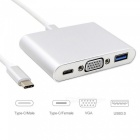 Dayspirit Type-c Male to USB 3.0, VGA, Type-C Female Adapter Converter - Silver