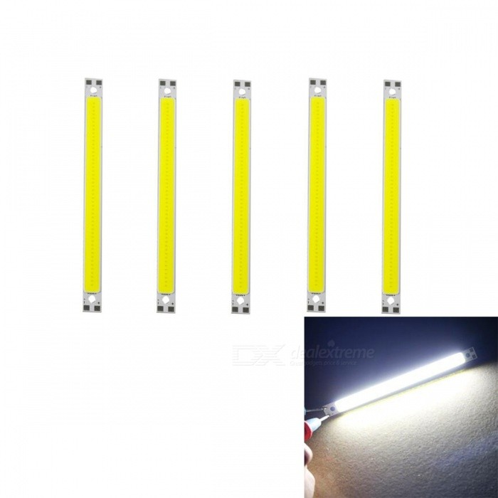 JRLED 120 x 10mm 10W 48-COB Cold White LED Module (DC 12V / 5 PCS)Form  ColorSilver + BeigeColor BINCold WhiteModelN/AMaterialAluminum alloy + silica gelQuantity5 DX.PCM.Model.AttributeModel.UnitPower10 DX.PCM.Model.AttributeModel.UnitRate VoltageDC12VWorking Current0-850 DX.PCM.Model.AttributeModel.UnitDimmableYesEmitter TypeCOBTotal Emitters48Beam Angle140 DX.PCM.Model.AttributeModel.UnitColor Temperature6500KTheoretical Lumens1000 DX.PCM.Model.AttributeModel.UnitActual Lumens1000 DX.PCM.Model.AttributeModel.UnitWavelengthN/AConnector TypeOthers,Solder jointCertificationCE ROHSOther FeaturesThis product series of small size, high brightness, easy modification lamp, small lights, background light source products, the maximum power 10W, when used to do heat treatment, DC12V constant voltage power supply, which can be used to adjust the brightness of the dimmer.SKU190132163667Packing List5 x 12V COB LED Modules<br>