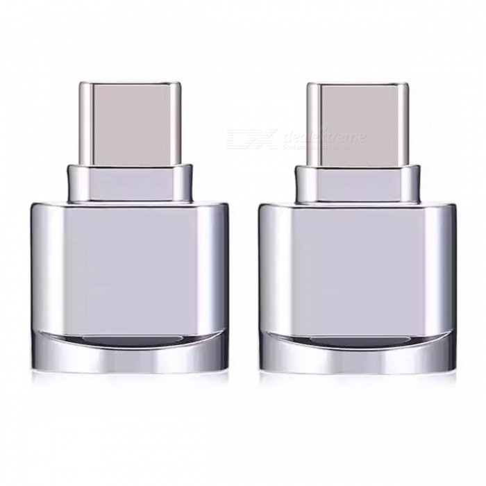 Mini Portable Type-C USB Interface Micro SD Card Reader, OTG Adapter - Silver White (2 PCS)USB Gadgets<br>Form  ColorSilver WhiteQuantity2 piecesMaterialAluminium AlloyInterfaceUSB3.1 Type-CPacking List2 x OTG Card Reader Adapters<br>