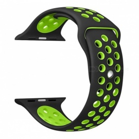 Soft Silicone Replacement Sports Watchband for Apple Watch Band Series 1 Series 2 - Black + Yellow (38mm)