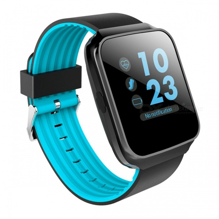 Z40 Smart Watch MTK2502 Bluetooth V4.0 Heart Rate Monitoring Blood Pressure Measurement - BlueSmart Bracelets<br>Form  ColorBlue + Black + Multi-ColoredQuantity1 DX.PCM.Model.AttributeModel.UnitMaterialABSShade Of ColorBlueWater-proofNoBluetooth VersionBluetooth V4.0Touch Screen TypeYesCompatible OSAndroid, iOSBattery Capacity300 DX.PCM.Model.AttributeModel.UnitBattery TypeLi-polymer batteryStandby Time5-7 DX.PCM.Model.AttributeModel.UnitPacking List1 x Smart Watch 1 x English user manual1 x Charging Cable<br>