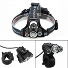 ZHAOYAO T6 XPE 3-LED Waterproof USB Rechargeable Multi-functional 4-Mode Headlamp, Bicycle Light - Black