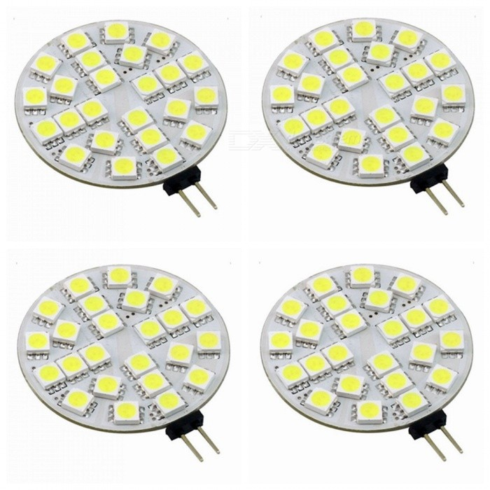 ZHAOYAO G4 5W AV/DC 12V 5050 SMD 24-LED Light - Cold White (4PCS)G4<br>Color BINCold White, 4PCSModelG4 5050-24L-W-4MaterialPCBForm  ColorWhiteQuantity4 DX.PCM.Model.AttributeModel.UnitPower5WRated VoltageOthers,AC/DC-12V DX.PCM.Model.AttributeModel.UnitConnector TypeG4Chip BrandOthers,LEDChip Type5050Emitter Type5050 SMD LEDTotal Emitters24Actual Lumens20-450 DX.PCM.Model.AttributeModel.UnitColor Temperature12000K,Others,5500-7000KDimmableNoBeam Angle180 DX.PCM.Model.AttributeModel.UnitPacking List4 x LEDs<br>