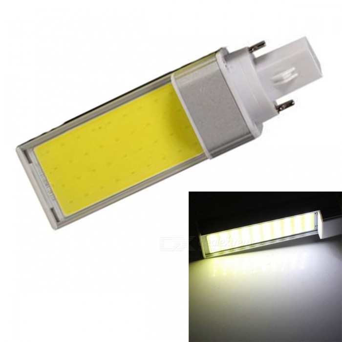 JRLED G24 7W Cold White COB LED Horizontal Plug Lamp with No Flicker (AC 85-265V)G24<br>Color BIN7W Cold WhiteModelN/AMaterialAluminum alloy + silica gelForm  ColorSilver + YellowQuantity1 piecePower7WRated VoltageAC 85-265 VConnector TypeG24Chip BrandEpistarChip TypeN/AEmitter TypeCOBTotal Emitters1Theoretical Lumens800 lumensActual Lumens700 lumensColor Temperature6000KDimmableNoBeam Angle120 °WavelengthN/ACertificationCE ROHSOther FeaturesThis product is used as the light source COB light source with high brightness, low heat, light, not dazzling light uniformity and other benefits, driven by a wide voltage constant current universal voltage, no flicker, the shell is made of one high conductivity Aluminum Alloy heat dissipation, reliable quality, are exported to the world.Packing List1 x G24 COB LED Lamp<br>
