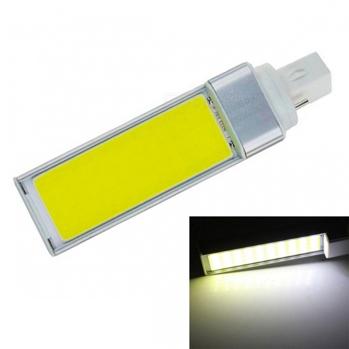JRLED G24 9W Cold White COB LED Horizontal Plug Lamp with No Flicker (AC 85-265V)G24<br>Color BIN9W Cold WhiteModelN/AMaterialAluminum alloy + silica gelForm  ColorSilver + YellowQuantity1 piecePower9WRated VoltageAC 85-265 VConnector TypeG24Chip BrandEpistarChip TypeN/AEmitter TypeCOBTotal Emitters1Theoretical Lumens1000 lumensActual Lumens900 lumensColor Temperature6000KDimmableNoBeam Angle120 °WavelengthN/ACertificationCE ROHSOther FeaturesThis product is used as the light source COB light source with high brightness, low heat, light, not dazzling light uniformity and other benefits, driven by a wide voltage constant current universal voltage, no flicker, the shell is made of one high conductivity Aluminum Alloy heat dissipation, reliable quality, are exported to the world.Packing List1 x G24 COB LED Lamp<br>